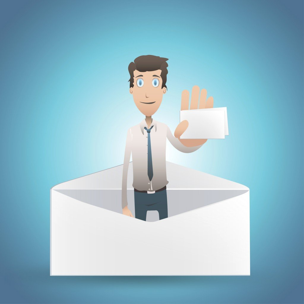 Business man holding card inside envelope. Vector design.