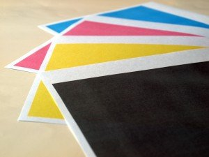 Colour printer print test of black cyan magenta yellow tones